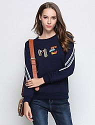 cheap -MISSGIRL Women's Daily Going out Active Street chic Striped Round Neck Plus Size Regular, Long Sleeves Winter Spring/Fall Cotton