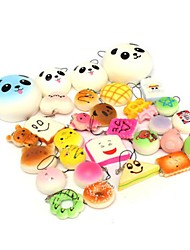 cheap -10PCS Random Kawaii Squishy Panda Bun Toasts Multi Donuts Squishy Soft Cell Phone Straps