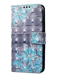 abordables -Coque Pour Huawei P9 lite mini Porte Carte Portefeuille Avec Support Clapet Magnétique Motif Coque Intégrale Fleur Dur faux cuir pour P9