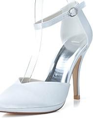 preiswerte -Damen Schuhe Satin Frühling Sommer Pumps Hochzeit Schuhe Stöckelabsatz Spitze Zehe Schnalle für Hochzeit Party & Festivität Weiß