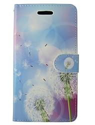 baratos -Capinha Para Huawei P8 Lite Porta-Cartão Carteira Com Suporte Flip Flor dandelion Rígida PU Leather para Huawei