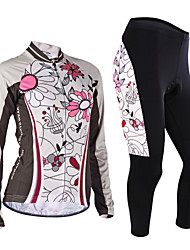 cheap -Nuckily Women's Long Sleeves Cycling Jersey with Tights - Light Grey Geometic Bike Jersey Clothing Suits, Anatomic Design, Breathable,