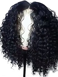 cheap -Luffy Unprocessed Brazilian Human Hair Curly 13*6Lace Front Wig 130% Density Pre Plucked 12-18 Inch Curly Front Lace Wig with Baby Hair Bleached Knots
