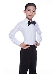 cheap -Latin Tops Boys' Performance Spandex Satin Bow Long Sleeves Natural Top