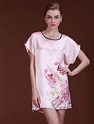 Недорогие -Женский Шёлк и сатин Ультра-секси Пижамы,Цветочный принт Плотная Тонкая Полиэстер Белый Розовый Верблюжий