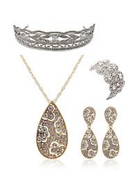 abordables -Femme Ensemble de bijoux - Imitation Diamant Goutte Européen, Mode Comprendre Tiare Nuptiales Parures Or Pour Mariage Soirée