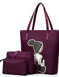 baratos -Feminino Bolsas Fibra Sintética Conjuntos de saco 3 Pcs Purse Set Bordado para Compras Casual Todas as Estações Azul Preto Cinzento Roxo