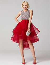 cheap -Ball Gown Jewel Neck Asymmetrical Tulle Cocktail Party Prom Dress with Beading Sequins by TS Couture®