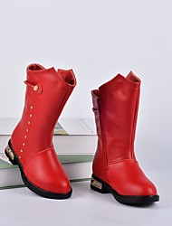 cheap -Girls' Shoes Real Leather Winter Fall Comfort Fashion Boots Boots Mid-Calf Boots for Casual Red Black White