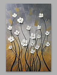cheap -Hand-Painted Floral/Botanical Vertical, Modern Oil Painting Home Decoration One Panel