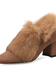 preiswerte -Schuhe Stoff Winter Pumps Flaum Futter High Heels Blockabsatz Quadratischer Zeh für Normal Kleid Schwarz Braun