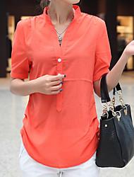 Недорогие -Для женщин Повседневные Лето Блуза Воротник-стойка,На каждый день Однотонный Короткие рукава,Полиэстер