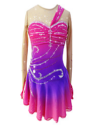 cheap -Figure Skating Dress Women's Girls' Ice Skating Dress Fuchsia Spandex Stretchy Skating Wear Sequin Long Sleeves Figure Skating