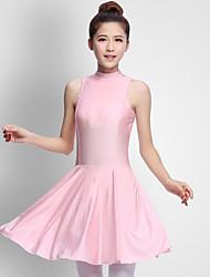 baratos -Balé Vestidos Mulheres Espetáculo Elastano Fru-Fru Sem Manga Natural Vestido