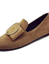 Недорогие -Жен. Обувь Полиуретан Весна Удобная обувь Мокасины и Свитер На плоской подошве Круглый носок Бант Черный / Коричневый / Хаки