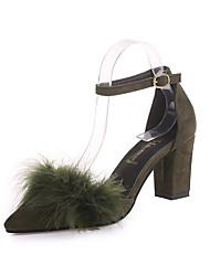 abordables -Femme Chaussures Cuir Nubuck Hiver Confort Sabot & Mules Bout pointu Plume pour Décontracté Noir Vert Véronèse Rose