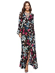 cheap -Women's Beach Vintage Boho Flare Sleeve Loose Dress - Color Block, Split Print High Waist Maxi V Neck