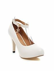 Недорогие -Жен. Обувь Искусственное волокно Весна Осень Удобная обувь Обувь на каблуках Высокий каблук для Повседневные Белый Черный Лиловый Синий
