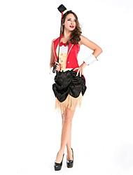 abordables -Circo / Jefe de pista Disfrace de Cosplay / Ropa de Fiesta Mujer Halloween / Carnaval Festival / Celebración Disfraces de Halloween Rojo Bloques Fiesta / Noche