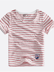 cheap -Boys' Striped Tee, Cotton Summer Short Sleeves Simple Black Orange Red Navy Blue Fuchsia