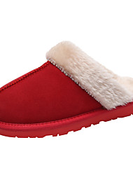 cheap -Women's Shoes Suede / Cowhide Fall / Winter Fur Lining Slippers & Flip-Flops Flat Heel Round Toe / Closed Toe Brown / Dark Grey / Red