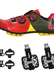 cheap -SIDEBIKE Adults' Cycling Shoes With Pedals & Cleats / Mountain Bike Shoes Carbon Fiber Anti-Slip, Wearable Cycling Black / Red / Green / Black Men's