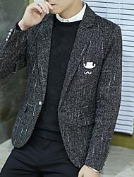 cheap -Men's Daily Casual Fall Blazer,Solid Notch Lapel Long Sleeve Regular Polyester
