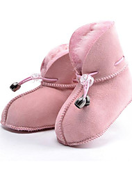 preiswerte -Mädchen Schuhe Echtes Leder Pelz Winter Herbst Komfort Schneestiefel Stiefel Booties / Stiefeletten für Normal Fuchsia Kaffee Rosa