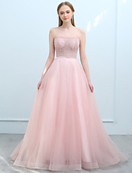 cheap -Ball Gown Strapless Sweep / Brush Train Tulle Prom Formal Evening Dress with Beading Sequins by SG