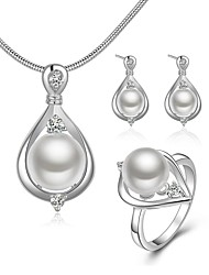 cheap -Women's Imitation Pearl Jewelry Set 1 Necklace 1 Ring Earrings - Basic Elegant Drop White Jewelry Set For Wedding Party