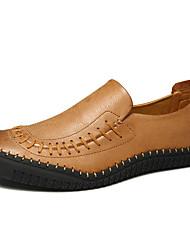 baratos -Homens sapatos Pele Couro Primavera Verão Conforto Mocassins e Slip-Ons Estampa Animal para Casual Marron Khaki