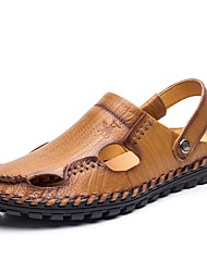 cheap -Men's Shoes Cowhide Nappa Leather Leather Summer Driving Shoes Comfort Sandals for Casual Office & Career Yellow Brown