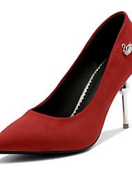 preiswerte -Damen Schuhe Wildleder Frühling Sommer Komfort Pumps High Heels Stöckelabsatz Spitze Zehe für Hochzeit Party & Festivität Schwarz Rot Grün
