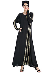 cheap -Fashion Jalabiya Kaftan Dress Abaya Arabian Dress Women's Festival / Holiday Halloween Costumes Black Golden Flower/Floral