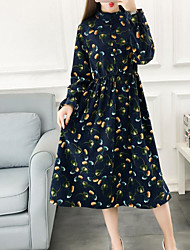 economico -Per donna Cotone Largo Vestito - Con stampe, Monocolore Girocollo Medio