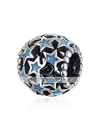 baratos -Jóias DIY 1 pçs Contas Prateado Azul Bola Estrela Bead 1 cm faça você mesmo Colar Pulseiras