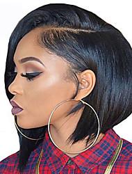 Недорогие -Парики из искусственных волос Прямой Стрижка боб Искусственные волосы Парик в афро-американском стиле Черный Парик Жен. Короткие Без шапочки-основы Черный