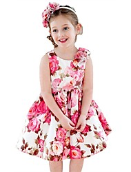 cheap -Girl's Party Daily Going out Holiday School Floral Print Jacquard Dress, Cotton All Seasons Sleeveless Simple Vintage Cute Red