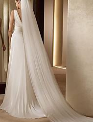 Недорогие -Два слоя Простой / Уникальный дизайн Свадебные вуали с Аппликации Эластан / Фата, закрывающая лицо
