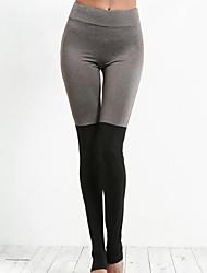 preiswerte -Damen Künsterlischer Stil Dünn Mittel Baumwolle Patchwork Genähte Spitzen Legging,Schwarz