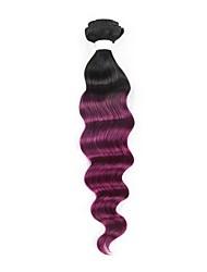 cheap -Brazilian Hair Loose Wave / Deep Wave Remy Human Hair Ombre Hair Weaves 1 Bundle Human Hair Weaves Black / Purple Human Hair Extensions