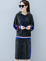 cheap -Women's Going out Cotton Hoodie - Solid Colored Skirt Hooded