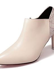 preiswerte -Damen Schuhe PU Winter Pumps Komfort High Heels Stöckelabsatz Spitze Zehe für Kleid Weiß Schwarz Rot