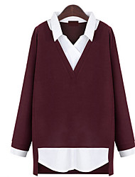 cheap -Women's Party Vintage Regular Pullover,Solid Color Block Shirt Collar Long Sleeves Polyester All Season Thin Micro-elastic