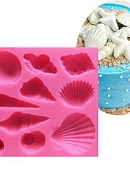 abordables -belle coquille de mer et forme de conque silicone moule 3d batterie de cuisine bar à manger gâteau anti-adhésif décoration moule de savon fondant