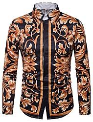 Недорогие -Муж. С принтом Рубашка Воротник-визитка Тонкие Цветочный принт