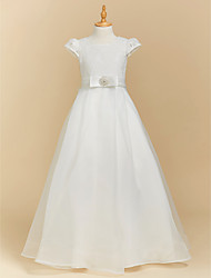 cheap -A-Line Floor Length Flower Girl Dress - Lace Satin Short Sleeves Square Neck with Bow(s) by LAN TING BRIDE®