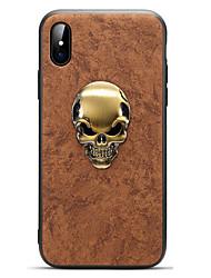 Недорогие -Кейс для Назначение Apple iPhone X iPhone 8 Матовое Кейс на заднюю панель Сплошной цвет Черепа Твердый Кожа PU для iPhone X iPhone 8