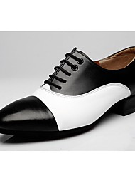 cheap -Swing Shoes Synthetic Microfiber PU Oxford Color Block Chunky Heel Black/White Customizable