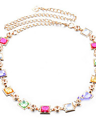 cheap -Women's Casual Gold Rhinestone Waist Belt